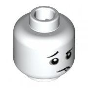 LEGO White Downturned Mouth w// Fang Dark Gray Eye Circles Minifig Head